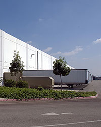 Exterior photograph of the loading docks at 13479 Valley Boulevard, California