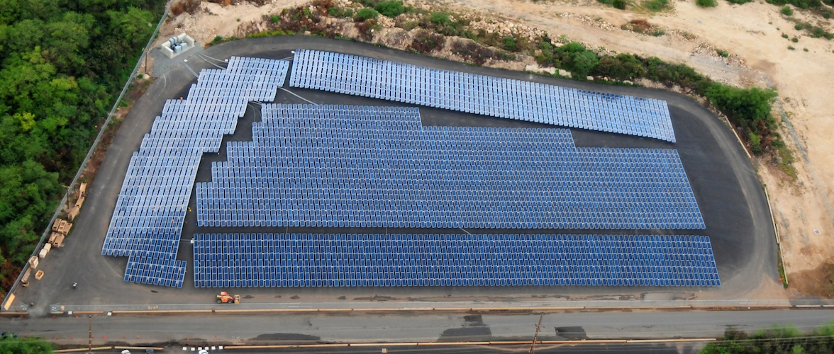 Photo of the solar array at Kapolei Sustainability Energy Park